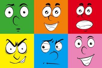 Verschiedene Ausdrücke auf menschlichen Gesichtern