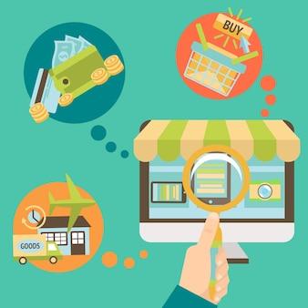 Verschiedene Elemente über Online-Shopping