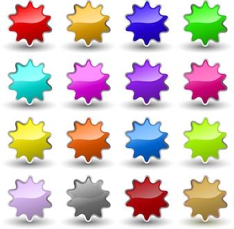 Verschiedene farbige glänzende Sternikonen