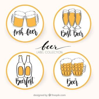 Verschiedene handgezeichnete Bier runde Aufkleber