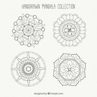 Verschiedene handgezeichnete Mandalas
