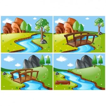 Verschiedene Landschaftsszenen mit einem Fluss