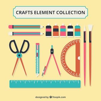 Verschiedene Materialien für Kunsthandwerk in flacher Bauform