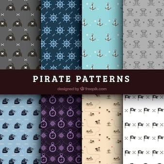 Verschiedene Muster von dekorativen Piraten