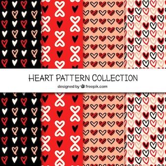 Verschiedene Muster von Hand gezeichneten Herzen