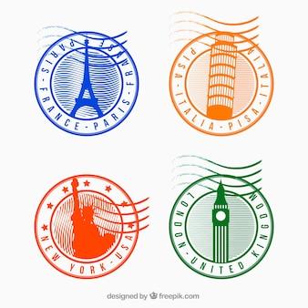 Verschiedene runde Stadtmarken mit verschiedenen Farben