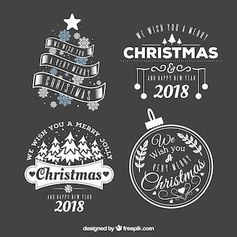 Verschiedene Weihnachtsaufkleber und Neujahr