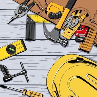 Verstellbarer Schraubenschlüssel, Hammer und Gebäudehöhe und Helm. Hölzerner rustikaler Hintergrund. Bau-Vektor-Illustration