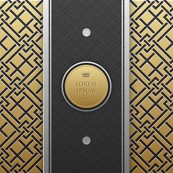 Vertikale Banner-Vorlage auf goldenen metallischen Hintergrund mit nahtlosen geometrischen Muster. Eleganter Luxusstil.