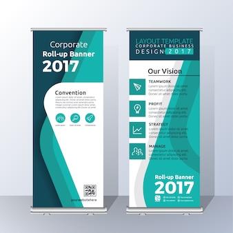Vertikale Roll Up Banner Vorlage Design für Ankündigung und Werbung. Abstrakt grün Farbschema Layout Vorlage
