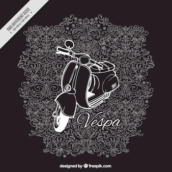 Vespa mit weißen Linien auf schwarzem Hintergrund