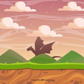Video-Spiel-Szene mit einem Drachen