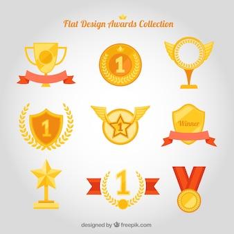 Vielfalt der flachen Auszeichnungen eingestellt