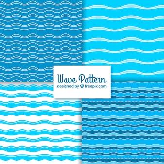 Vielfalt von Wellenmustern in minimalistischem Design