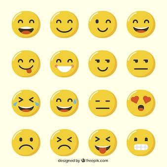 Vielzahl der lustigen Emoji in flaches Design