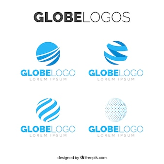 Vielzahl von abstrakten Globus Logos in blauen Tönen