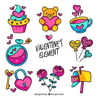 Vielzahl von bunten valentine Elemente