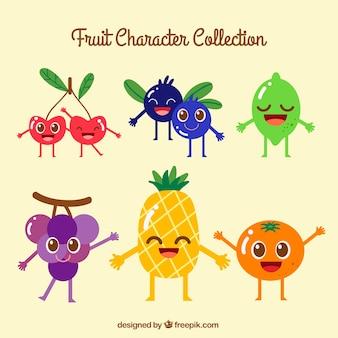 Vielzahl von farbigen Frucht Zeichen lächelnd