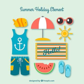 Vielzahl von farbigen Sommerelementen in flachem Design