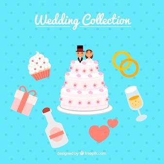 Vielzahl von flachen Hochzeit Elemente