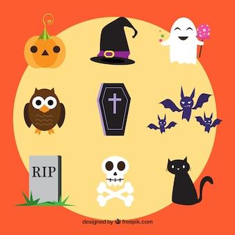 Vielzahl von Halloween-Elementen und Charakteren