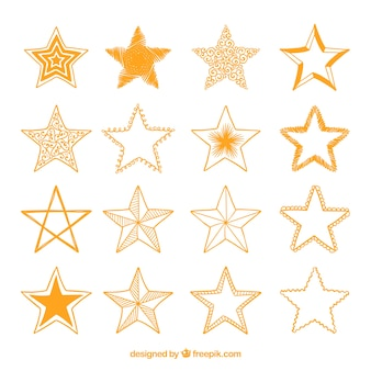 Vielzahl von Hand gezeichneten goldenen Sternen