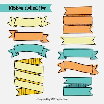 Vielzahl von handgezeichneten Bändern