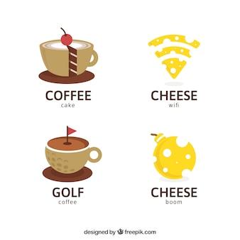 Vielzahl von Logotypen mit flachem Design