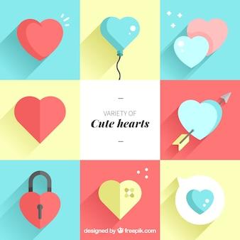 Vielzahl von niedlichen Herzen in flachem Design