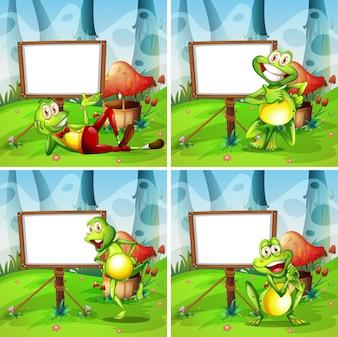 Vier Bilder von Frosch im Park