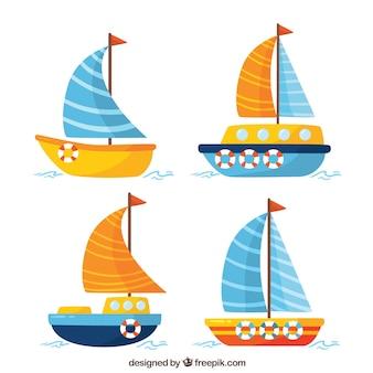 Vier Boote in flachem Design