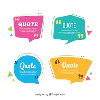 Vier farbige Dialogballons