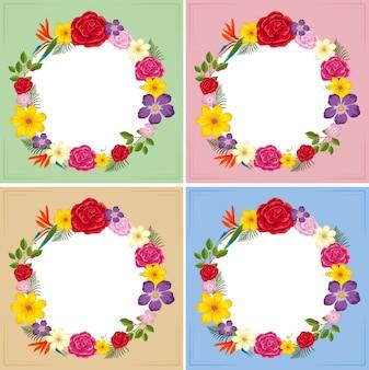 Vier Frames Vorlage mit bunten Blumen