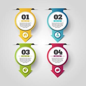 Vier hängende Pfeile Infografik Banner