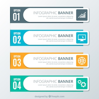 Vier Infografik Optionen in flachem Design