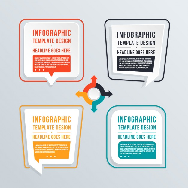 Vier Infografik Text Template Design