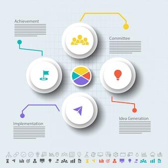 Vier Schritte, Timeline Infografics Layout mit Icons Set, in schwarz und weiß und bunte Versionen.