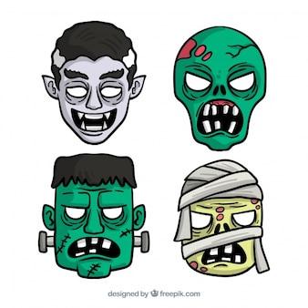 Vier sehr beängstigende Masken: Dracula, Zombies und eine Mumie