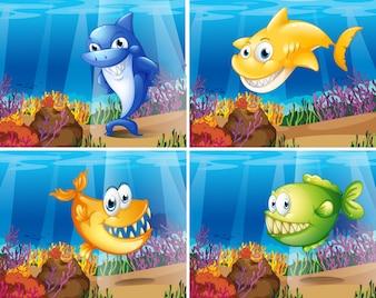 Vier szenen von unterwasser mit fischen