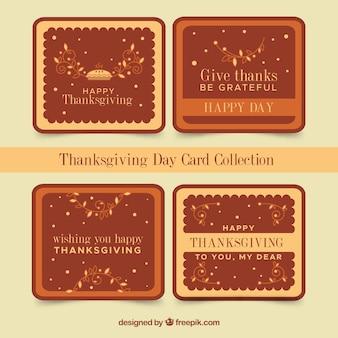 Vier Thanksgiving-Grußkarten