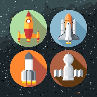 Vier verschiedene Raketen