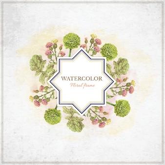 Vintage Aquarell floralen Rahmen mit Typografie