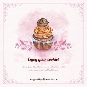 Vintage Aquarell Hintergrund mit Schokolade Cupcake
