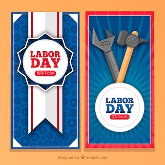 Vintage Arbeitstag Banner mit Abzeichen und Werkzeuge