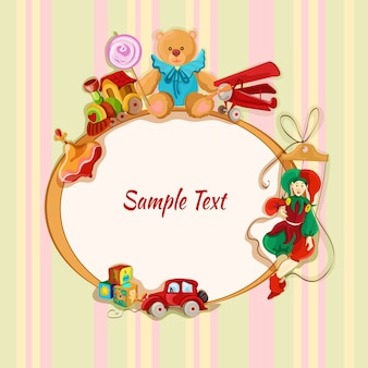 Vintage Baby Spielzeug Skizze Rahmen Postkarte mit PEG Top-Zug Lollypop Teddybär Vektor-Illustration