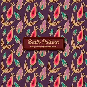 Vintage-Batikmuster von Blüten und Blättern