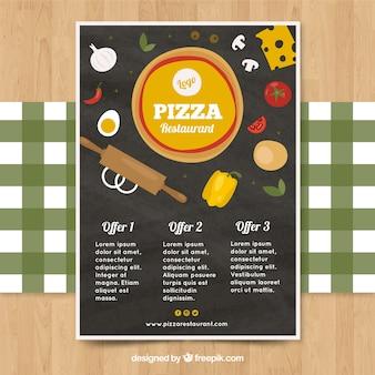Vintage Broschüre von Pizza-Angeboten mit Zutaten
