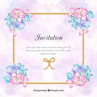 Vintage Einladung mit Aquarell Blumen
