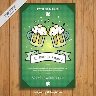 Vintage-Faltblatt-Vorlage mit Bier für St Patrick Tag