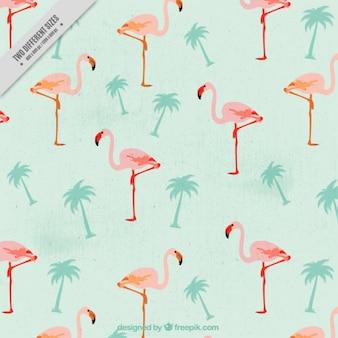 Vintage-Flamingos mit Palmen Hintergrund